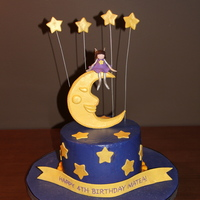 Fairy Moon Cake Buttercream Frosting with fondant accents. Moon, fairy, shooting stars, and banner made of gumpaste