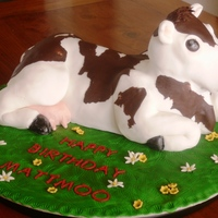 Cookies & Cream Cow Cake Cookies & Cream cake layered with vanilla butter cream carved and iced with fondant.