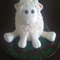My Little Lamb Strawberry cake carved and shaped. Filled and crumb coated with strawberry butter cream. Iced with fondant and strawberry flavoured royal...
