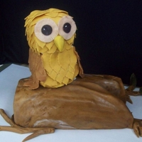 Log Owl The log and the owl were lemon cake with raspberry cream. The log was covered in MMF and the owl was covered in choc feathers. It was for...
