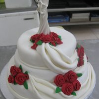 Wedding Cake Red Handmade Roses wedding cake red handmade roses