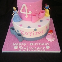 Princess Birthday Cake 2 tier Princess birthday cake with shop bought figurines.