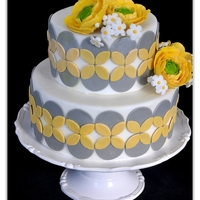 Gray And Yellow Ranunculus Cake Loves ranunculus flowers!