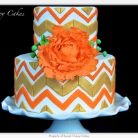 Gold And Orange Chevron Cake Chevron pattern looks simple but it gave me a run for my monies!