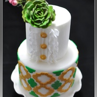 Gold And Green Quatrefoil Cake With Succulent Flower Billy Balls And Apple Berries Gold and green quatrefoil cake with succulent flower, billy balls and apple berries