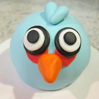 Blue Angry Bird Covered In Fondant For Church Auction Blue Angry Bird. Covered in fondant for church Auction.