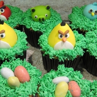 Angry Bird Cupcakes Fondant Angry Birds on top of grass tip covered cupcake.