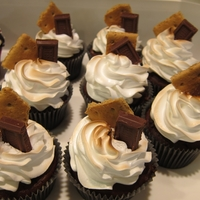 Smore Cupcake Cupcake with graham cracker crust, chocolate cupcake, marshallow icing, lightly toasted under the broiler, topped with a graham cracker and...