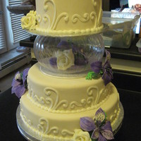 Ivory Cake With Cream And Lavender Flowers Wedding cake my friend requested, it's a copy of a grocery store cake but with one layer chocolate and another vanilla both with...