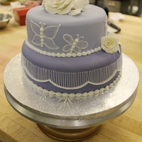 Purple Butterfly Cake just a plain wedding cake done for a class