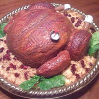 Roasted Turkey This is a hand-carved white almond sour cream cake. Textured buttercream.