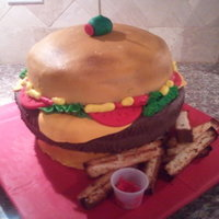 Cheeseburger All buttercream except tomato slices. Broiled leftover cake scraps the fries.