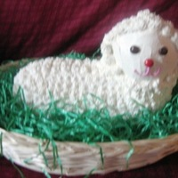 Little Lamb Haitian Cake Covered and decorated with Classic Buttercream