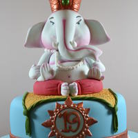 Ganesh Birthday Cake I had a couple of late nights with this short notice birthday cake but so worth it. the model of ganesh is made in marzipan, sugarpaste and...