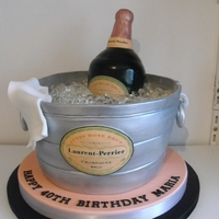 Laurent Perrier Champagne Cake Champagne cake with edible bottle, labels and ice
