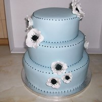 "Blue Wedding Cake 10"", 8"" and 6"" fruit cake with anemones based on Peggy Porschen cake."