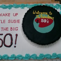 Wake Up Little Susie For a friend's 50th....white cake w/buttercream filling and frosting, fondant accents