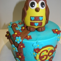 "Retro Owl 6"" frosted with buttercream and fondant decor. Owl is RKT covered in fondant."