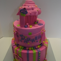 "Cupcake Theme 8"" and 6"" frosted with buttercream and fondant accents. Top cupcake is a smash cake for the birthday girl!"