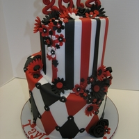 Red/black Graduation Topsy turvy style graduation cake. Frosted with buttercream and fondant decorations.