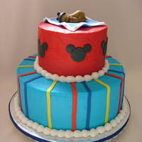 Mickey Mouse Baby Shower Cake is bc with fondant accents to match baby's bedding
