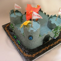 Castle Cake Bday boy supplied knights for the cake.