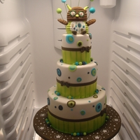 Friendly Owl Lime Green Cake This was for my partner teacher's baby shower. The owl on top was created from a stuffed animal owl in her baby's crib. French...