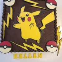 Pokemon Pikachu Cake Pokemon Pikachu chocolate cake. Pikachu, pokemon balls and lightning all done with chocolate transfers.