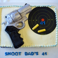 Super Redhawk 44 Magnum Caliber Pistol Cake Pistol and bullets modeled from fondant