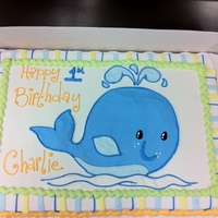 Whale First Birthday Cake Full Sheet Marble Cake, 100% Buttercream Frosting.This cake was designed to match the party decor for the little boy's first birthday...