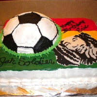 Bob Marley Birthday cake I made for my nephew who loves both Bob Marley and Soccer.