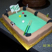 Garys Pool Table gift for a very good friend. He is an avid pool player. could not resist making this for him. Carved cake, covered in fondant, pool balls...