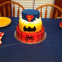 Superhero 10,8,6' round. I used a batman cookie cutter, handmade the spiderman logo and superman logo. My friend made the topper. It was her...