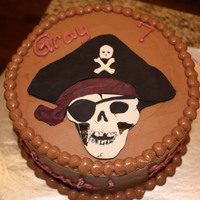 Ahoy Matey! A Pirate Cake This cake was for my nephew and his pirate-themed birthday party. I cut the skull out of fondant, as well as the rest his accessories. I...