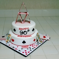 "Playing Card Theme Birthday Cake This is another cake I made for my grandpa's 90th birthday party. 2 tier 10"" & 8"" round cakes covered in fondant. All..."