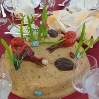Bar Mitzvah Prehistoric Themed Center Pieces Underwater prehistoric nautilus centerpiece ... the base is made with cake covered in frosting, then with crushed graham crackers and brown...
