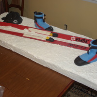 This Cake Was Made For My Sons Cross Country Ski Team The Snow Is All Cake The Skis And Bindings Are Made Of Modeling Chocolate And Decor This cake was made for my son's cross country ski team. The snow is all cake. the skis and bindings are made of modeling chocolate and...