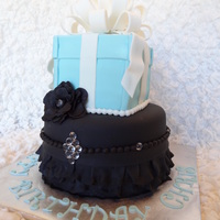 "Birthday Cake Bling The ""bling"" is sugar diamonds that I bought online. It's covered in fondant with fondant bow and ruffles. Thanks for looking..."