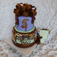 Brown And Lavendar Baby Shower Cake The bottom tier is a 9 inch covered in fondant and then hand painted to match the invitations. I used food color thinned with vodka. The...