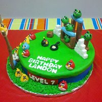 Angry Birds Cake Cake is iced with butter cream, all birds, pigs and wood are made with MMF, slingshot is from a bush in my front yard :-)