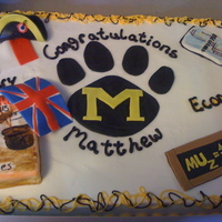 Mu Duel Grad This was a graduation cake for a co-worker's son. He was a duel History and Economics major at University of Missouri (MU). The left...
