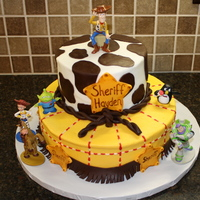 Toy Story Sheriff Cake This cake was a mix of a few designs I saw on CC. Thank you everyone for all the ideas! The cow spots, rope, and fringe are all modeling...