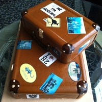 Travel Cases Double Fudge cake with strawberry filling. MMF. Edible stickers.