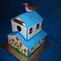 Birdhouse   This cake was ordered to be given as a Christmas gift.