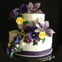This Was A Bridal Shower Cake Made To Be A Mini Version Of Their Full Wedding Cake Iced With Buttercream With Cascading Fondant Flowers This was a bridal shower cake made to be a mini version of their full wedding cake. Iced with buttercream, with cascading fondant flowers...