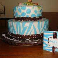 Blue Zebra And Giraffe Babyshower Cake buttercream with fondant accents.