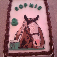 Horse Birthday Chocolate transfer horse from a picture of a little girl's mare.