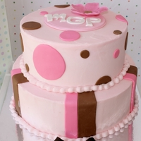 Pink And Brown Baby Shower Cake Buttercream Frosting with Fondant details.