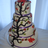 Colourful Autumn Wedding Heavenly Pumpkin Spice cake covered in fondant with all fondant accents