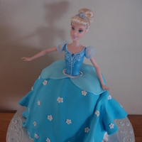 "Cinderella Holding Up Her Dress Chocolate and raspberry cake covered in fondant. To make the skirt I used a smallish stainless steal bowl and then a 6"" round pan."